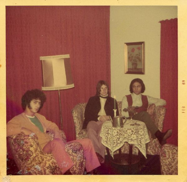 Ami Trebich, Robb Huxley, Miki Gavrielov  The Churchills hanging out after the show Aarhus Denmark '69.