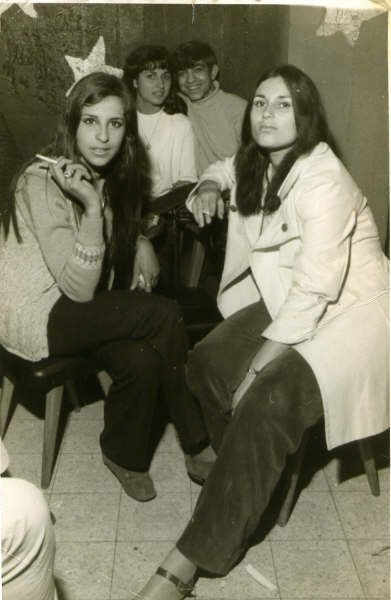 At the Bat Yam Club. My girlfriend Efrat Vahab (Later to become my wife) seated on the left with a friend.