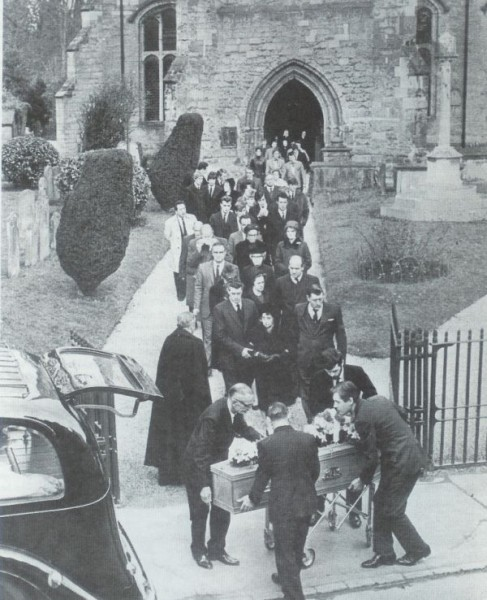 Joe Meek's funeral in Newent 1967. The New Tornados can be seen in the background.  I am standing next to Pete Holder, also Dave Watts and the Diamond Twins.