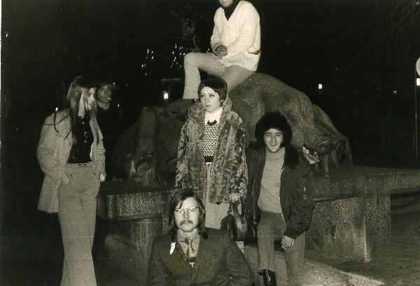 Stan Solomon, Robb Huxley, Miki Gavrielov (photos), Ami Trebich  Churchills in Aarhus, Denmark 1969..... Don't remember the names of the girls.