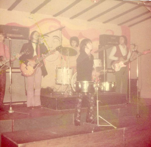 """In this photo: Haim Romano (photos), Robb Huxley, Ami Trebich, Stan Solomon, Miki Gavrielov (photos) The Churchills playing """"Hush"""" at Box 72 Aarhus Denmark 1968. It was a great place to play. The crowd loved us and nobody ever insisted that we play any pop music crap. We played there several times and after the show some local girls took us around to the back door of a bakery where we bought hot Danish pastries and some of that great Danish chocolate milk to wash it all down with. YUMMY !!!"""