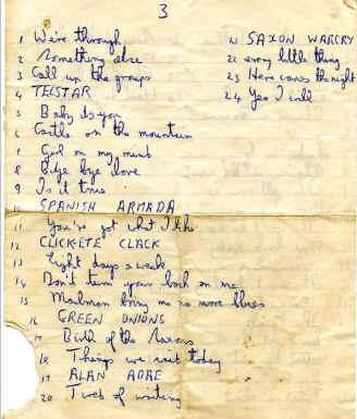 Saxons set list 1965