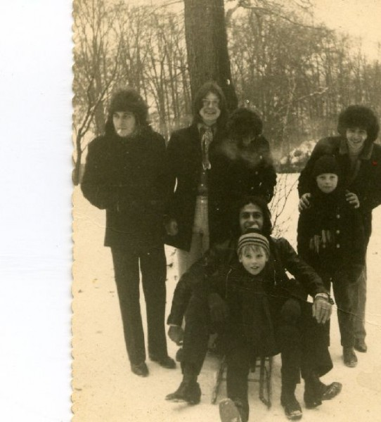 The Churchills having fun with some kids in the snow in Copenhagen Denmark '69. It's difficult to make out Stan but he is standing just behind Robb Huxley ..........