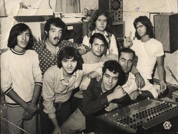 Uzi and the Styles at Kolinor Studio. Ave Orchover is second from left standing behind Uzi Fuchs. Amnon Roberman and Dori Herschgal the engineers who worked on the Churchills Album are seated at the console. They both have their eyes closed and must have been asleep at the time!