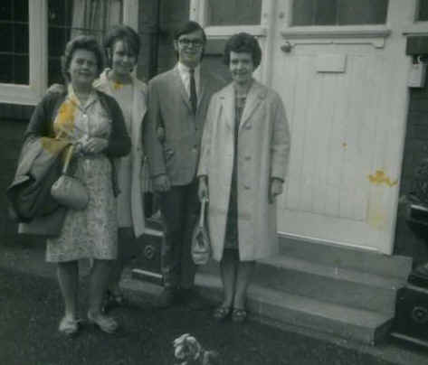 Our rented house on Whitegate drive Blackpool 1966. L to R. Mrs Nancy Holder (Pete & Roger's mother)...Georgina Huxley Taylor (Robb's sister) Robb Huxley...Mrs Joan Huxley (Robb's mother)